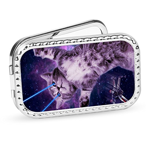 Hopchuang Rectangle Pocket Makeup Mirror, Handheld Travel Makeup Mirror with Powerful 10x Magnification and 1x True View Mirror for Travel(Laser-Eyes-Space-Cat4)