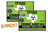 Texas-ZOMBIE HUNTING PERMIT TAG-2 PACK-DECAL STICKER-LICENSE-2012/2013-TX