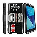 MINITURTLE Case Compatible w/ Samsung Perx Hard Case| Galaxy J7 V Case| Samsung Sky Pro Case[Armor Reloaded] Rugged Impact Protector Case + Clip Holster and Stand Heavy Duty Game Controller Retro