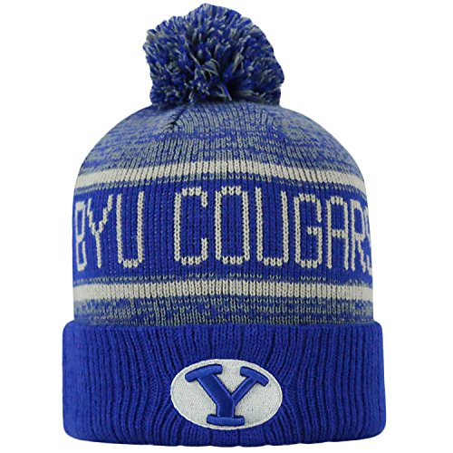 Byu Cougars Official NCAA Cuffed Knit Acid Rain Beanie Stocking Stretch Sock Hat Cap by Top of the World 068787 (Brigham Young University Fabric)