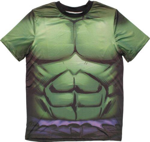 Marvel Incredible Hulk Men's Verde Rock T-Shirt, White Sublimated, Medium ()