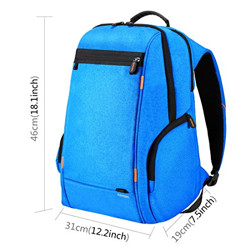 HAWEEL Outdoor Multi-function Solar Panel Power Breathable Casual Backpack Laptop Bag School Bookbag for College Travel Backpack, With USB Charging Port & Earphone Port (Blue) by HAWEEL (Image #7)