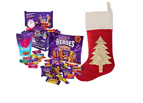 Cadbury Christmas office gift set in a Large Velvet Hand Embroidered Stocking
