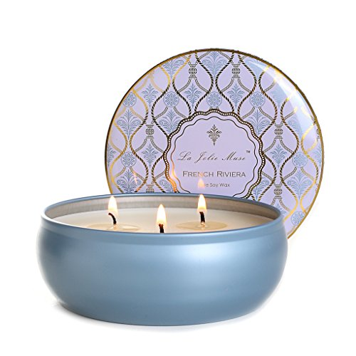 Scented Candles 3 Wicks Travel Tin, French Riviera Essential Oil, 12oz Soy Wax, Fine Home Fragrance Gifts