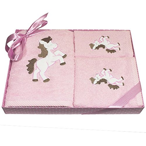 Harwoods Pony Childrens Gift Box 3 Piece Towel Set, Pink