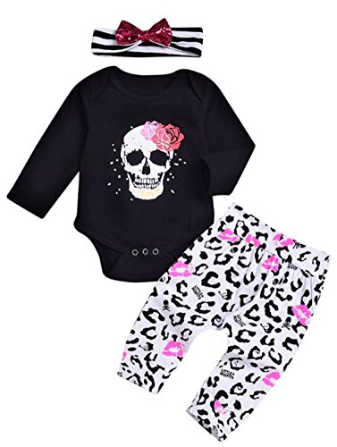 (Newborn Infant Boys Girls Skull Bone Print Romper Lip Pants 2pcs Clothes Set Size 0-6 Months/Tag70 (Black) )