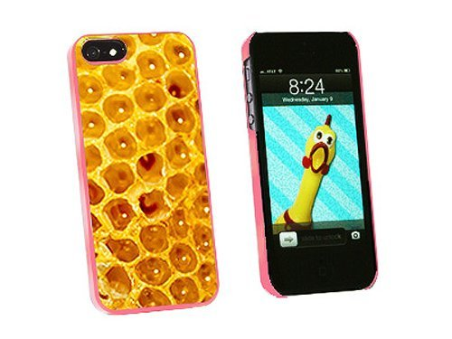 Graphics and More Honey Comb Bee Snap-On Hard Protective Case for iPhone 5/5s - Non-Retail Packaging - Pink