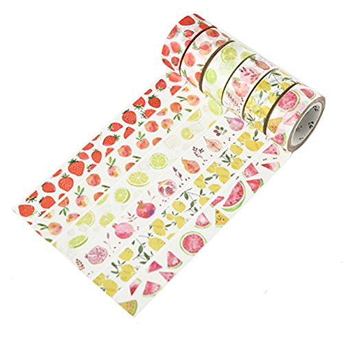 Cute Watercolor Fruit Watermelon Lemon Strawberry Peach Wide Washi Tape - Set of 6 Rolls - Decorative DIY Japanese Masking Scrapbook Bujo Notebook Sticky Paper Washi Tape Set (Width:15 mm)