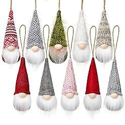 Christmas Farmhouse Home Decor Christmas Tree Hanging Gnomes Ornaments Set of 10, Swedish Handmade Plush Gnomes Santa Elf Hanging Home Decorations…
