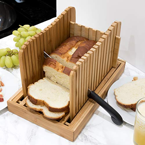 1st Place Products Premium Bamboo Bread Slicer - Adjustable to your Bread Size - 4 Bread Width Slice Sizes - Compact & Foldable ()