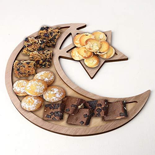 (Ramadan Dessert Plate,Rustic Wooden Crescent Moon Srar Eid Ramadan Party Food Serving Tableware Dessert Pastry Tray Display Holder Decor)