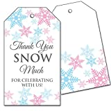 25 Snowflake Favor Tags - Thank You Snow Much - Pink and Blue