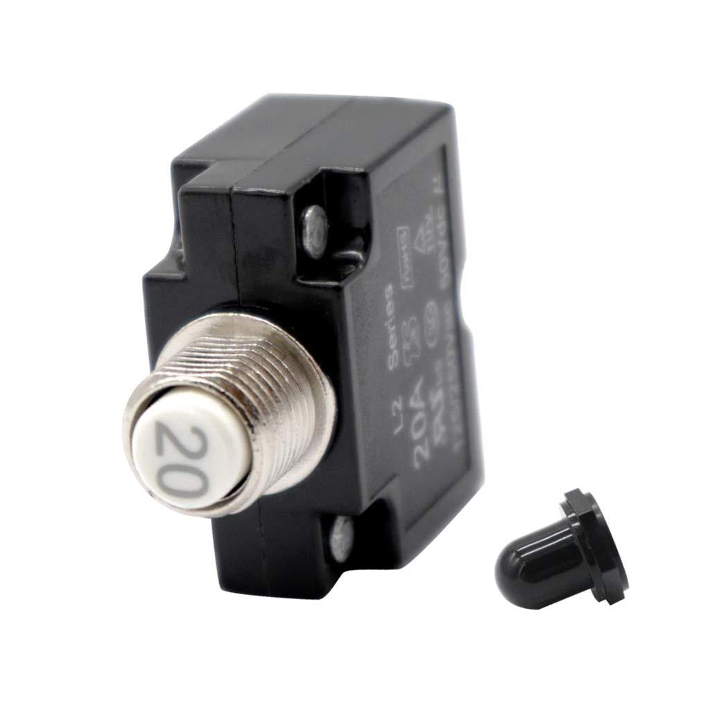 Baoblaze Push Button Circuit Breaker for 12V 24V 50V Volts DC or 120V-240V AC - 15A