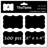 ThxToms 100Pcs Chalkboard Labels, High-Class Waterproof and Rewritable Stickers for Jars, Folders Classification, 2'' x 1.4'', A