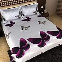 CrazyLooks.in 150 TC 100% Glace Cotton Double Bedsheet with 2 Pillow Covers, Size 90 by 100 3D Printed Multicolour