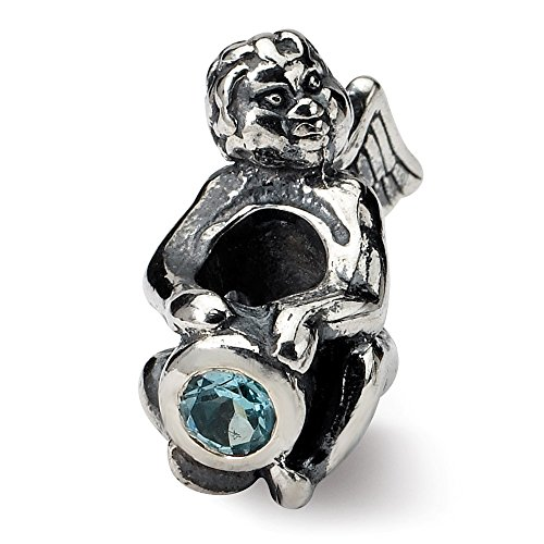 - Sterling Silver Polished Antique finish Reflections December Cubic Zirconia Antiqued Bead Charm