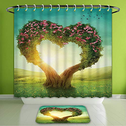 Waterproof Shower Curtain and Bath Rug Set Love Decor Collection Heart Shaped Tree in The Meadow Grassland Wildflowers Enchanted Fairytale Bath Curtain and Doormat Suit for Bathroom 60