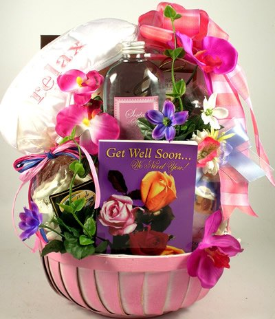 Pretty in Pink Spa and Gourmet   Get Well Spa Gift Basket for Women with Gourmet Snacks