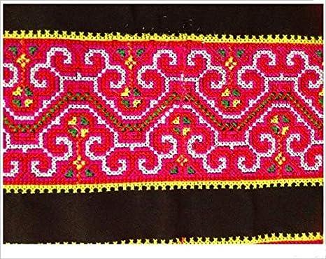 Encaje para manualidades – Hmong bordado de ganchillo de algodón de encaje de 10 cm vestido de cinta cinta de cinta étnico tribal India Boho Gypsy DIY: Amazon.es: Juguetes y juegos