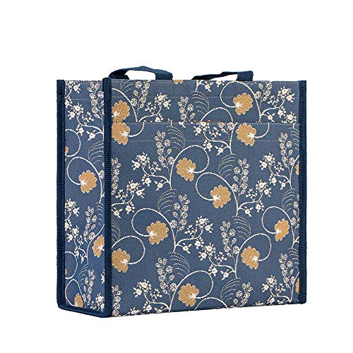 Signare Tapestry Stylish Foldable Reusable Shopper Shopping Bag in Jane Austen Design (Jane Austen Blue) (SHOP-AUST)