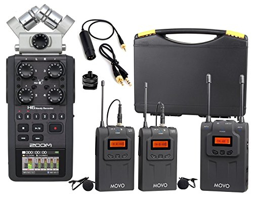 Zoom H6 Six-Track Portable Handy Recorder Bundle with Movo U