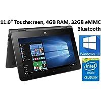 HP X360 11-AB011DX 11.6-Inch Touchscreen 2-in-1 Convertible Premium HD Laptop (Intel celeron N3060, 4GB RAM, 32GB eMMC, Windows 10 Home) Black (Certified Refurbished)
