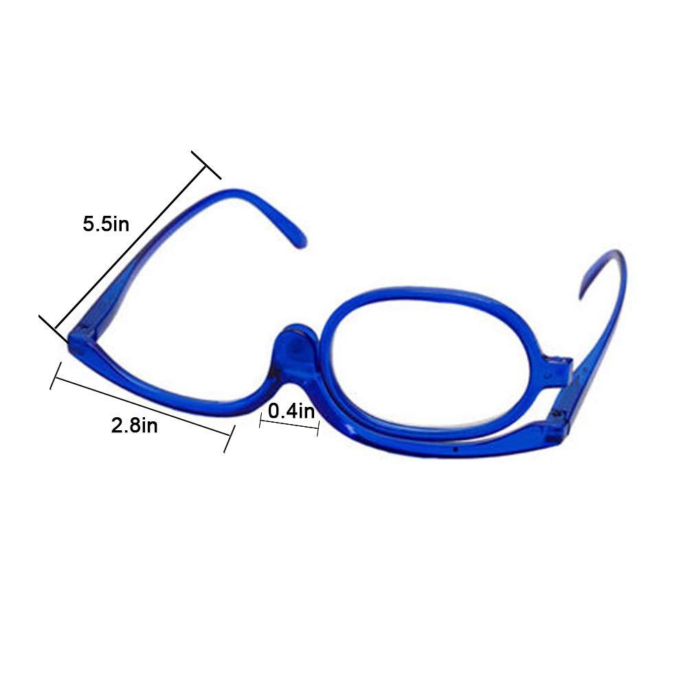 Gafas Para Maquillarse con Lente Abatible Gafas de Maquillaje de Gafas con Lente que Gira Para Ayudarte con el Maquillaje con Funda Gratuita 1.0 X - 4.0 X