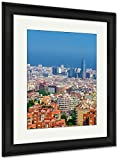 Ashley Framed Prints Barcelona Attractions Cityscape Of Barcelona Catalonia Spain, Wall Art Home Decoration, Color, 35x30 (frame size), Black Frame, AG5598367