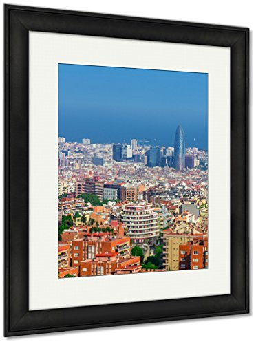 Ashley Framed Prints Barcelona Attractions Cityscape Of Barcelona Catalonia Spain, Wall Art Home Decoration, Color, 35x30 (frame size), Black Frame, AG5598367 by Ashley Framed Prints