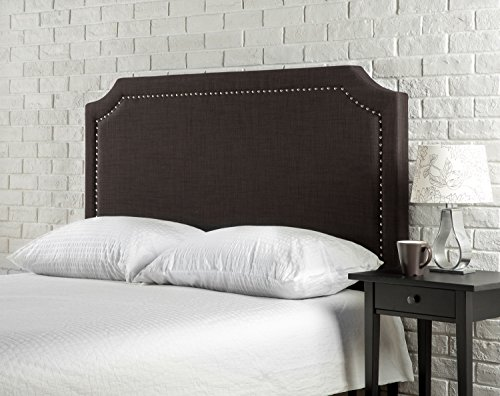Buy Bargain Zinus Upholstered Nailhead Detailed Headboard, Full/Queen, Dark Brown