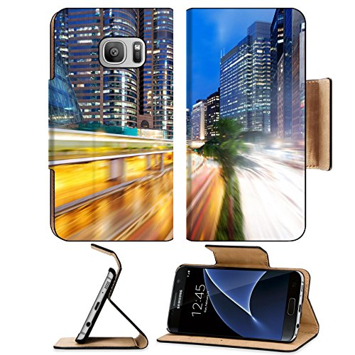 Luxlady Premium Samsung Galaxy S7 Flip Pu Leather Wallet Case IMAGE ID: 24499338 Hong Kong night view with car - Centre Finance International Kong Hong