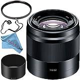 Sony E 50mm f/1.8 OSS Lens (Black) SEL50F18/B + 49mm UV Filter + Fibercloth + Lens Capkeeper Bundle