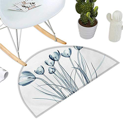 (Flower Semicircle Doormat X-ray Transparent Image of Tulips Solarized Effects Nature Inspired Vision Entry Door Mat H 43.3
