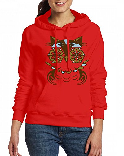 A stylized owl in Romanesque style Womens Hoodie Fleece Custom Sweartshirts