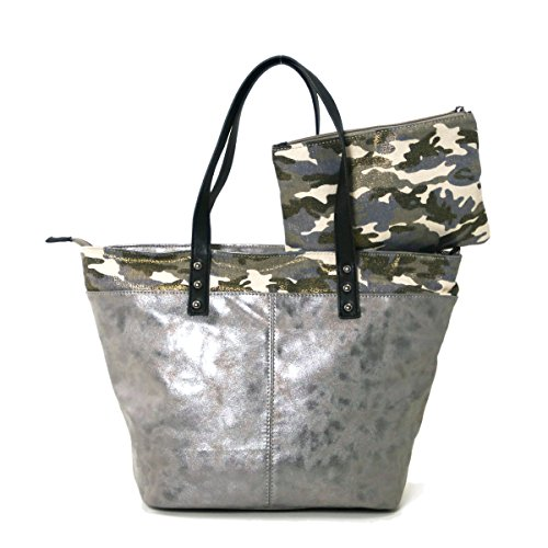 Metallic Camouflage Tote Bag With Zippered Clutch Silver (Silver Camo)