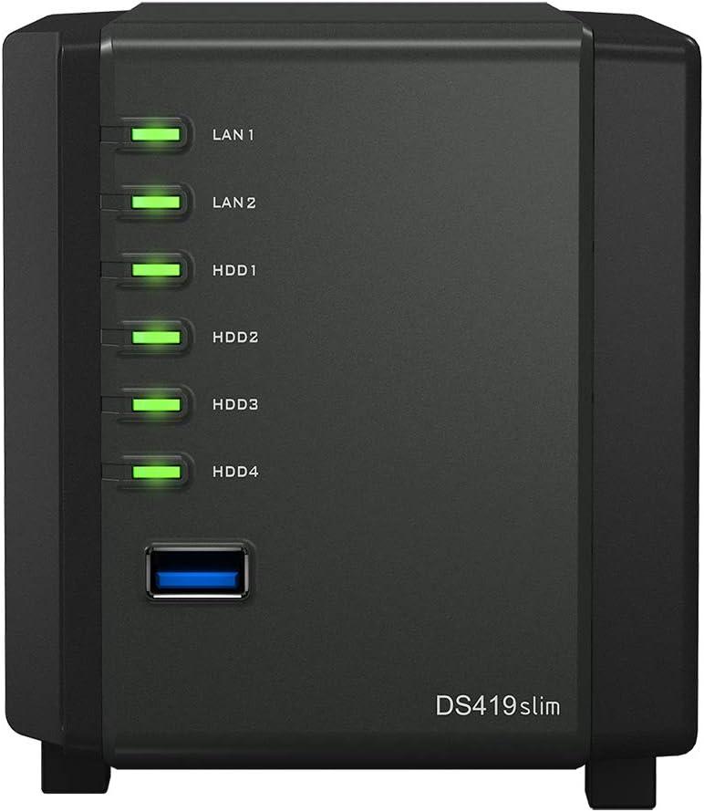 Synology DSM Software 4TB SSD 512MB DDR3 Synology SDRAM Marvell Armada 385 88F6820 Synology DiskStation DS419slim Compact Desktop NAS Server