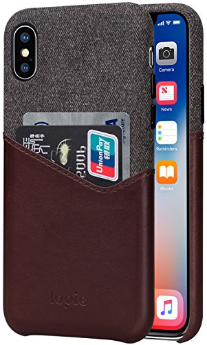 iPhone X Case, Lopie [Sea Island Cotton Series] Fabric Slim Fit Hard Back Case Wallet Cover with Genuine Leather Card Holder Slot Design for iPhone X / iPhone 10 - Coffee (Island Coffee Finish)