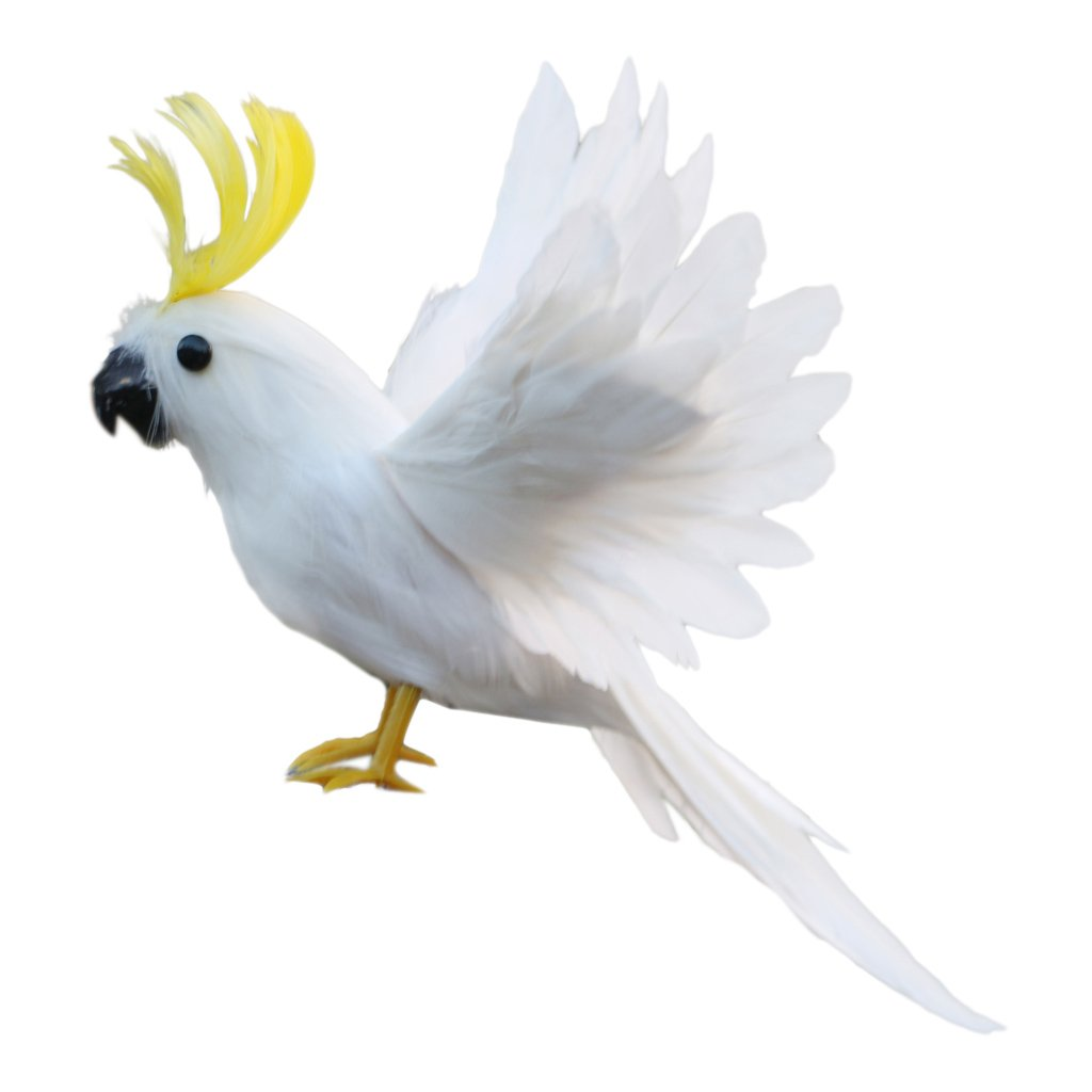 Sharplace 4 Types Artificial Bird Feather Realistic Garden Home Decor Tree Ornament 7.9inch White as described