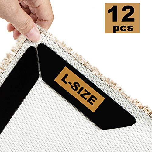 ProFaster 12 Pcs Rug Grippers, L-Size Anti Curling and Non-Slip Area Rug Pad Carpet Tapes Safe for All Flat Floors - Keeps Your Rug or Mat in Place and Makes Corners Flat (Black)