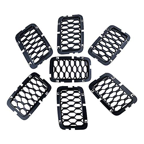 Anzio Compatible with 17-19 Jeep Grand Cherokee Matte Black Front Honeycomb Grill Inserts