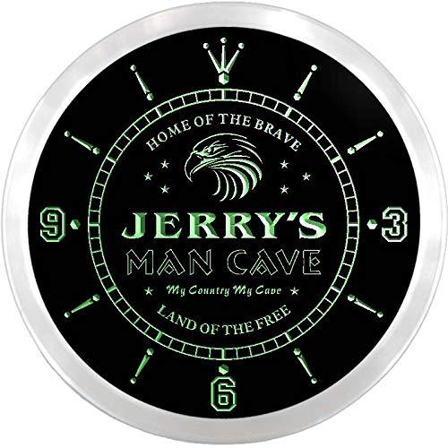 - ADVPRO ncx0039-tm Jerry's Man Cave Eagle Bar Custom Name Neon Sign Clock