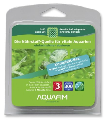 Aquafim S-03 Basic Komplett-Set bis 300 L - 2in1 Dosier-Würfel & Liquid
