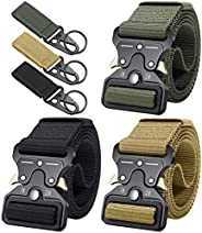 Ginwee 3 Pack Tactical Belt,Military Style Belt, Riggers Belts for Men, Heavy-Duty Quick-Release Metal Buckle