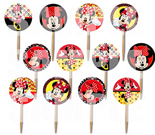 Minnie Mouse Picks Red Yellow Black Cupcake Picks Cake Toppers -12 pcs]()