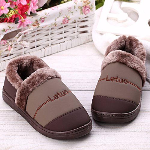 LaxBa Femmes Hommes chauds dhiver Chaussons peluche antiglisse intérieur Cotton-Padded Slipper chaussures Brown40/41 (recommandé 39-40 pieds porter