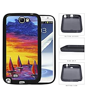 Sailboats Floating In The Sea Watercolor Painting [Samsung Galaxy Note II 2 N7100] Rubber Silicone TPU Cell Phone Case