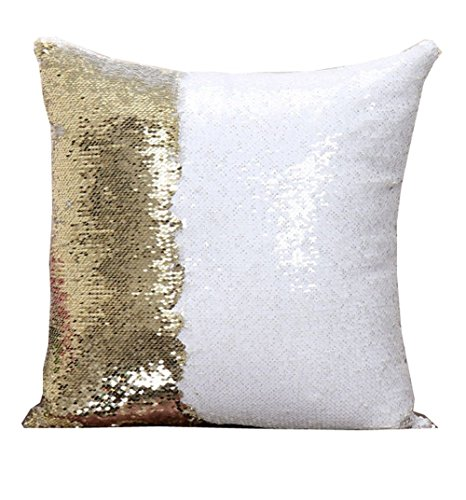 Reversible Sequin Mermaid Glitter Sofa Cushion Cover Pillow (White and Gold)