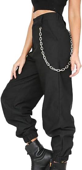 Pipigo Pantalones Cargo Tipo Haren De Tiro Alto Con Cadenas Deportivas Sueltas Para Mujer Negro M Amazon Com Mx Ropa Zapatos Y Accesorios