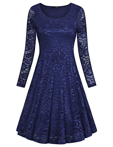 VALOLIA Womens Floral Dresses For Wedding Guest, Lace Scoop Neck Long Sleeve Midi Dress Dark Blue X-Large