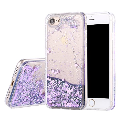 iPhone 7 Case, iPhone 7 Liquid Case, GPROVA Fashion Creative Design Flowing Liquid Floating Luxury Bling Glitter Sparkle Diamond Hard Case for iPhone 7 2016 Release (Purple) (Purple Case Iphone 4s Speck)